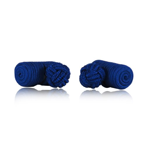Classic-Royal-Blue-Silk-Knot-Log-Cufflinks-With-Velour-Pouch-by-Cuff-Daddy