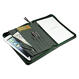 LUCRIN - Zip-up A5 document Holder - Smooth Cow Leather, Green