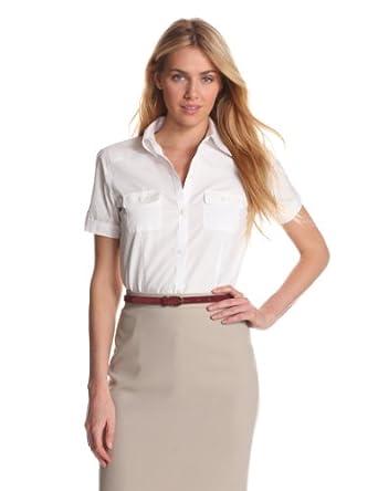 Foxcroft Women 39 S Short Sleeve Camp Shirt White 10 At