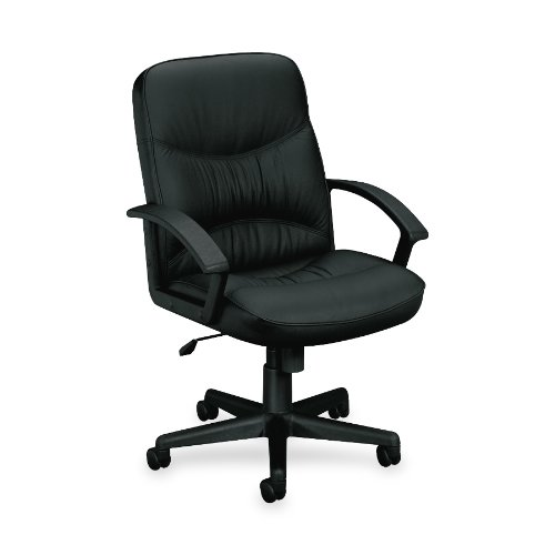 HON VL640 Mid-Back Chair with Loop Arms for Office or Computer Desk, Black