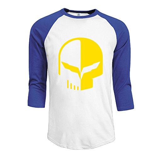 PTCY Chevrolet Logo With Punisher Skull Symbol Men's Originals Raglan Tshirt RoyalBlue L (Bose Silverado Speakers compare prices)