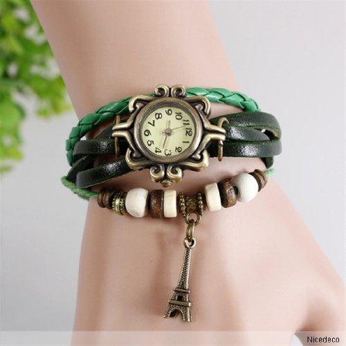 Nicedeco - Green,Fashion Accessories Trial Order Quartz Weave Wrap Around Leather Bracelet Lady Woman Wrist Watch,Eiffel Tower Pendant