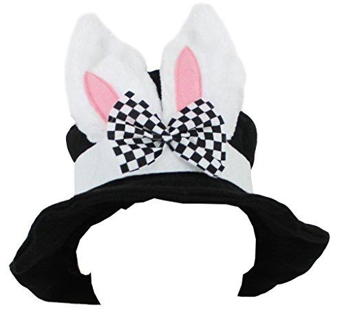 Cappello per travestimenti a forma di coniglio, con orecchie e fiocco, accessorio Alice nel Paese delle Meraviglie, colore: nero