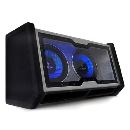 """Auna - Double caisson de basses pour voiture - Subwoofer auto double à faible résonance (30cm, 12"""", LED bleu) - Noir"""