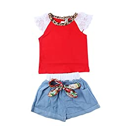 WXBUY Kids Girls Ruffled Sleeves T-shirt+ Bow-knot Jeans Pants Outfits Red S