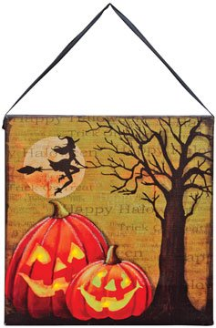 Halloween Canvas Wall Sign With Led Light (Jackolantern / Witch)