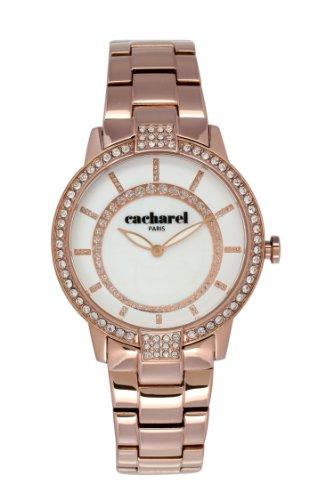 Cacharel-CLD 009S/2BM Women's Quartz Analogue Watch-White Face-Plated Steel Bracelet-Pink