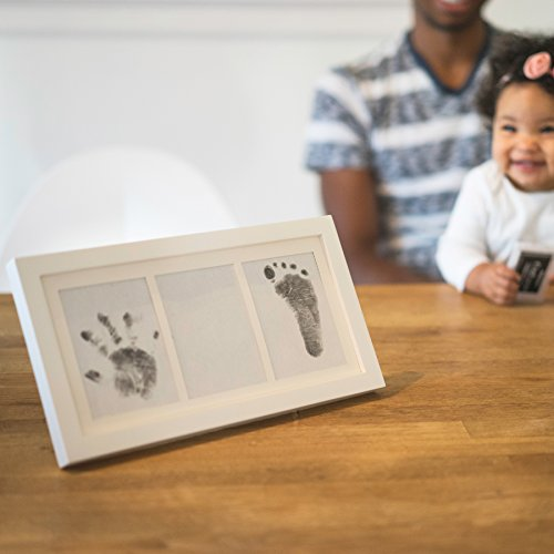 Precious Baby Handprint and Footprint Frame Package - Baby Prints Photo Keepsake in White with Non-Toxic Ink Pad - Quality Wood Frame With Safe Acrylic Glass - Great Baby Gift For Baby Registry