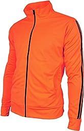 Angel Cola Men\'s Retro Stripes Full Zip-up Track Top Jacket Fluorescent Orange L
