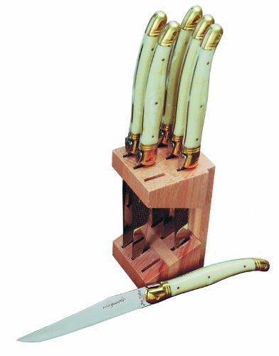 Jean Dubost 6 Steak Knives In Wood Block, Ivory