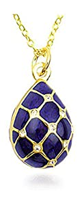 """Gold Finish Lattice Pattern Cobalt Blue Crystal Faberge Egg Necklace 18"""" Museum Jewelry With History Card"""