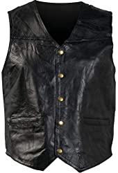 Giovanni Navarre Mosaic Leather Vest Black