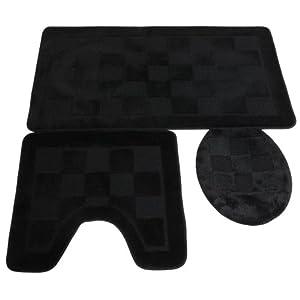 ensemble de tapis de bain tapis de contour de toilette et couvercle de toilette voir. Black Bedroom Furniture Sets. Home Design Ideas