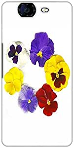 Snoogg A Circle Made Of Colorful Viola Tricolor Designer Protective Back Case Cover For Micromax Canvas Knight A350