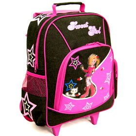 Compass Kids Sweet Girl Wheeled Trolley Case Black