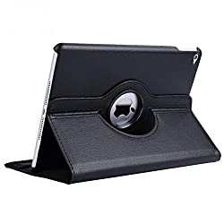 TGK 360 Degree Rotating Leather Case Cover Stand For iPad Air 2, iPad Air 6 - Black