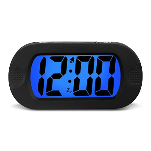Hense 5.5 Seismic Resistance Candy Color Oval Electronic Lcd Alarm Clock with Matching Backlight (Black) Ha30