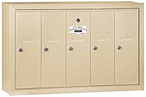 Salsbury Industries 3505SSU Surface Mounted Vertical Mailbox with USPS Access and 5 Doors, Sandstone