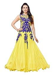Fabboom Women Georgette Anarkali Dress Material (Fba556-50014 _Yellow _Free Size)