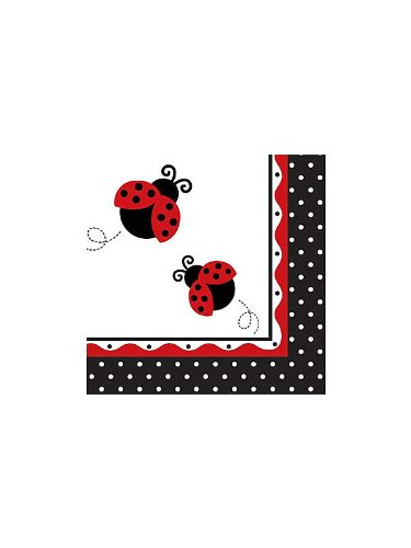 Creative Converting Unisex Adult LadyBug Fancy Lunch Napkins Black Medium