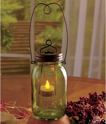 Mason Jar Votive Candle Lamp with L.E.D. Candle (Green)