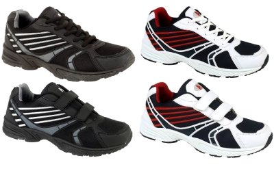 NEW MENS WHITE BLACK TRAINERS FOOTBALL TENNIS RUNNING SHOES BOYS PUMPS SIZES 6-12