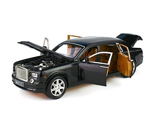 124-rolls-royce-phantom-diecast-sound-light-pull-back-model-toy-car-black-new-in-box-by-xlg