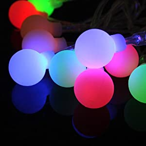Round Christmas String Lights : Amazon.com - Innoo Tech Battery Powered String Fairy Lights 40 RGB Led Globe Light for Christmas ...