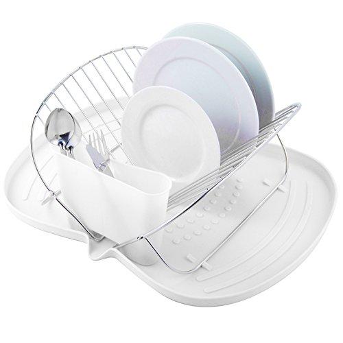 MSV 110535-Scolapiatti pieghevole con piatto in acciaio e plastica, colore: argento/bianco, 48 x 38 x 17 cm