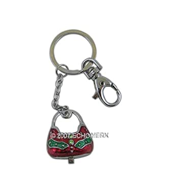 Purse Charm Key Chain Handbag Trinket Box Hinged Jeweled Red