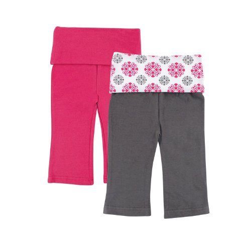Yoga Sprout 2-Pack Baby Yoga Pants, Pink Medallion, 6-9 Months