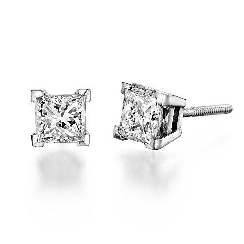 0.60 Ctw Vs Princess Cut Diamond Stud Earrings In 14K White Gold, Screwback