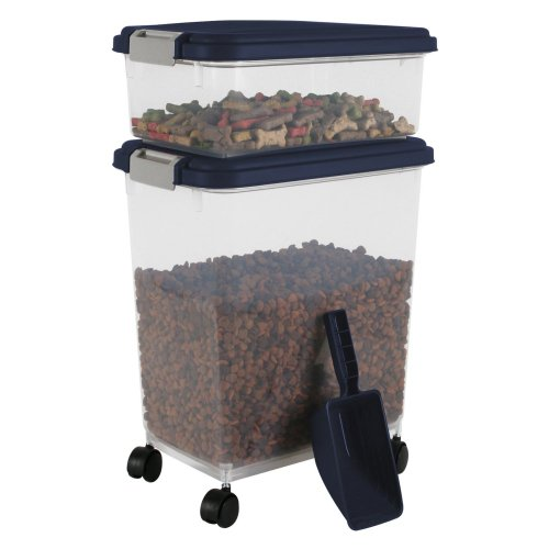 IRIS Airtight Pet Food Container Combo Kit, Blue Indigo/Gray by Miles ...
