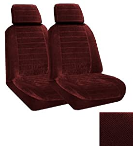 Set of 2 Universal Fit Low Back Regal Pattern Front Bucket Seat Cover - Burgundy