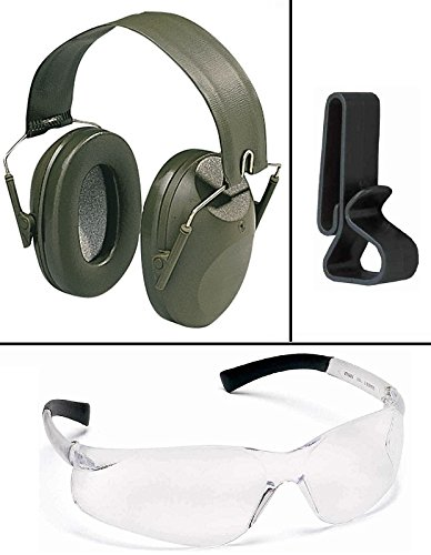Peltor 97012 Shotgunner Green Adjustable Folding Liquid Gel-Filled Cushions Earcup Earmuff Ear Muff NRR 21 dB + Ultimate Arms Gear Clear Lens Safety Glasses + Earmuffs & Glasses Belt Waist Clip Holder