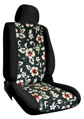 Custom Fit Ford Focus Seat Covers (2012-2014) Front Seat Set - In Hawaiian Black W/ New Floral Gray Print - Sport Buckets W/ Adjustable Headrests (Standard On Titanium And St. Optional On Se And Sel) (No Fit On St Model With Recaro Seats)