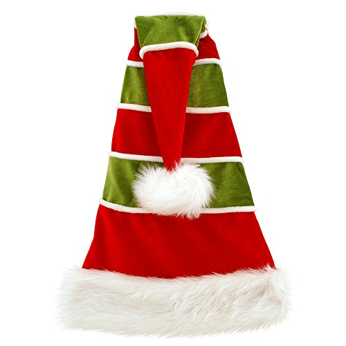 27 Inch Red And Green Velvet Santa Hat With White Stripes