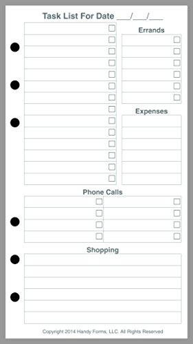 Personal Size Daily Task Planner Insert, Sized and Punched for Filofax Personal Notebook (Personal Planner Pages compare prices)