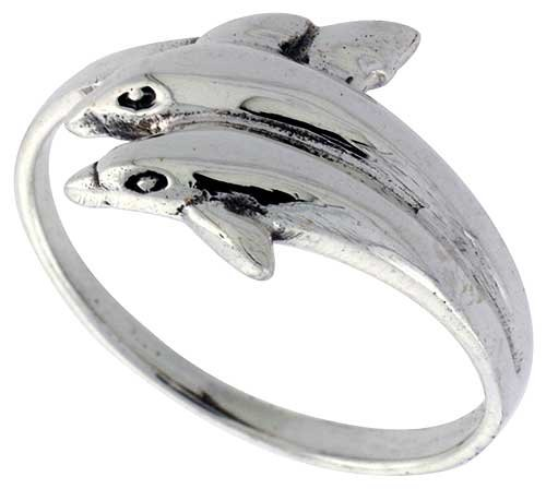 Sterling Silver Double Dolphin Polished Ring, size 10