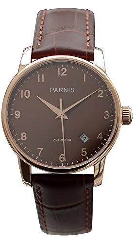 PARNIS Automatikuhr Modell 3218, Unisex-Armbanduhr, Ø 38mm, 316L Edelstahlgehäuse vergoldet, Saphirglas, verschraubte Krone, 5BAR wasserdicht, hochwertiges Kalbs-Lederarmband, mechanisches Automatik-Uhrwerk von MIYOTA, Kaliber 821A