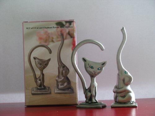 GREAT GIFT! Set of 2 Ring Holders (Cute Cat & Elephant) Pewter with Crystal Eyes.