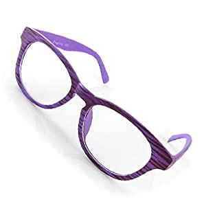 Purple Wood Grain Design Plain Lens Eyeglasses Eyewear