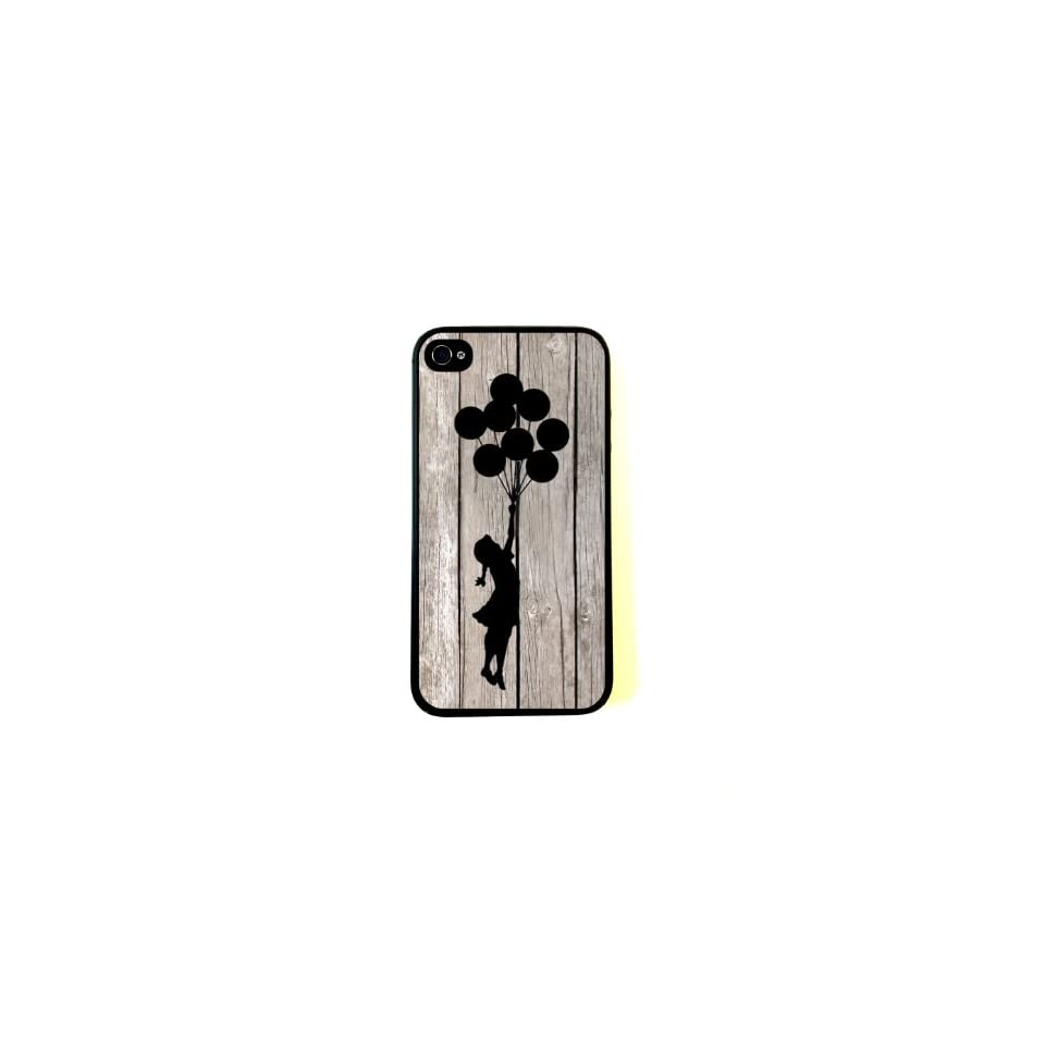 Banksy Balloon Girl On Wood iPhone 4 Case   Fits iPhone 4 and iPhone 4S