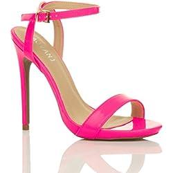 Donna alto tacco partito fibbia con cinturino sandali scarpe numero 4 37