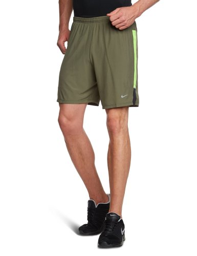 "NIKE Herren Sportshorts 7"" Stretch Woven 2-in-1 (s), sequoia/electric green/reflective silv, XXL, 504672-355"