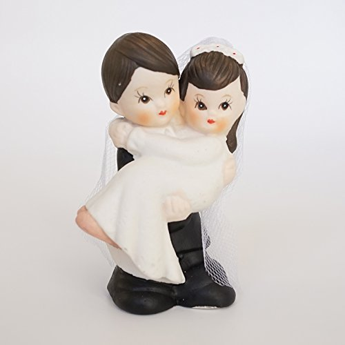 Cute Mini Wedding Couple Bride & Groom Decor Figurine Poly Resin Statue (Dark Brown Hair w/ Light Complexion)