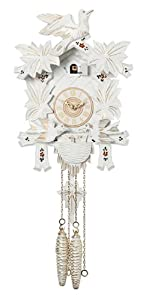 River City Clocks 15-13W One Day Cuckoo Clock with Carved Maple Leaves And Moving Birds, White with Gold Accents, 13-Inch Tall
