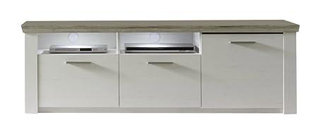 furnline Wohnzimmer ELO Kiefer Struktur Decor TV Ständer Lowboard, Eiche San Remo, weiß