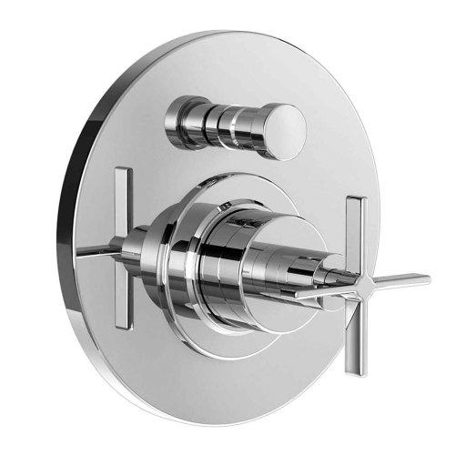 Jado 847140.150 Stoic Pressure Balance Diverter Tub and Shower Valve with Cross Handle, Platinum Nickel