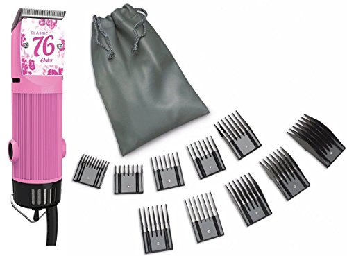 New Oster Classic 76 Pink Color Flower Limited Edition Hair Clipper + 10 PC Comb Set (Black Oster Detachable Blades compare prices)